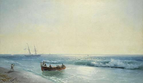 cuadros-de-marinas - Cuadro -Sailors coming ashore- - Aivazovsky, Ivan Konstantinovich