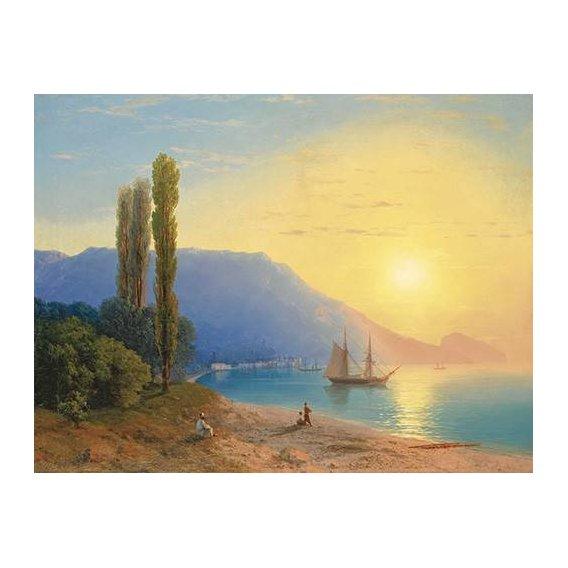 cuadros de marinas - Cuadro -Atardecer sobre Yalta-