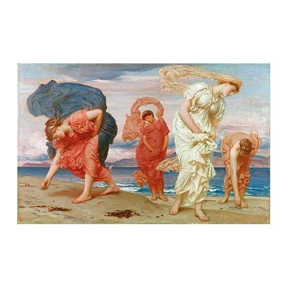 cuadros de retrato - Cuadro -Jovenes griegas recogiendo guijarros al borde del mar-