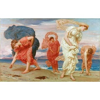 - Cuadro -Jovenes griegas recogiendo guijarros al borde del mar- - Leighton, Frederick