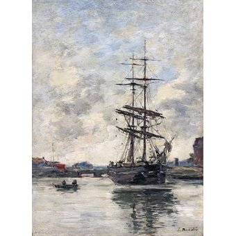 - Cuadro -Ship on the Touques, 1888- - Boudin, Eugene