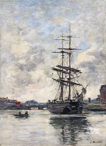 cuadros-de-marinas - Cuadro -Ship on the Touques, 1888- - Boudin, Eugene