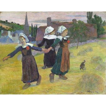 - Cuadro -Breton Girls Dancing, Pont-Aven- - Gauguin, Paul