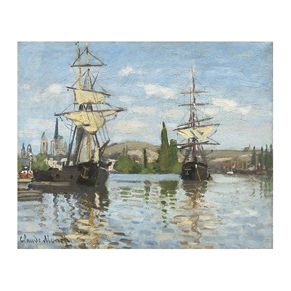 cuadros de marinas - Cuadro -Ships Riding on the Seine at Rouen, 1872-