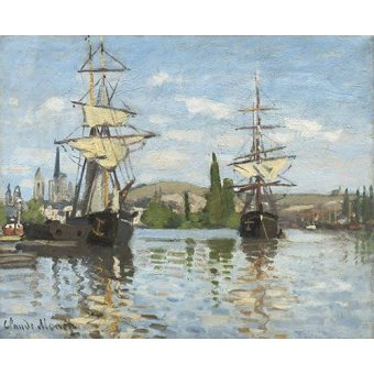 cuadros de marinas - Cuadro -Ships Riding on the Seine at Rouen, 1872- - Monet, Claude