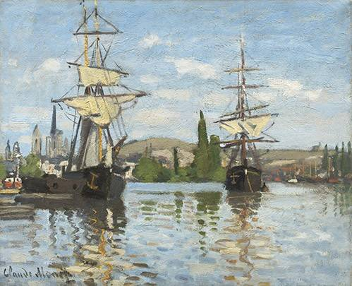 cuadros-de-marinas - Cuadro -Ships Riding on the Seine at Rouen, 1872- - Monet, Claude