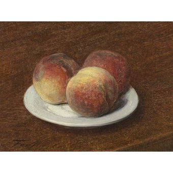 - Cuadro -Three Peaches on a Plate, 1868- - Fantin Latour, Henri
