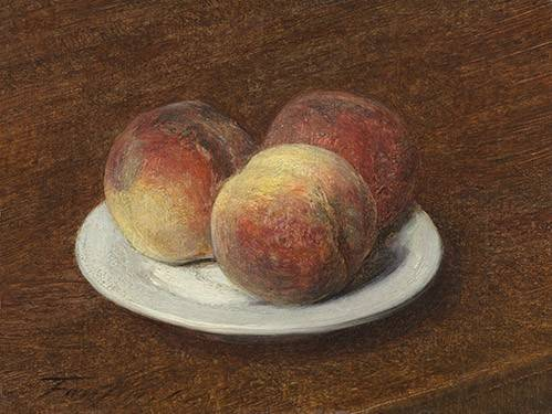 cuadros-de-bodegones - Cuadro -Three Peaches on a Plate, 1868- - Fantin Latour, Henri