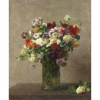 cuadros de flores - Cuadro -Flores en un jarron- - Fantin Latour, Henri