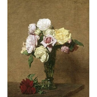 - Cuadro -Still Life with Roses in a Fluted Vase- - Fantin Latour, Henri