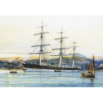 cuadros de marinas - Cuadro -The square-rigged Australian clipper -Old Kensington- lying on  - Spurlng, J.