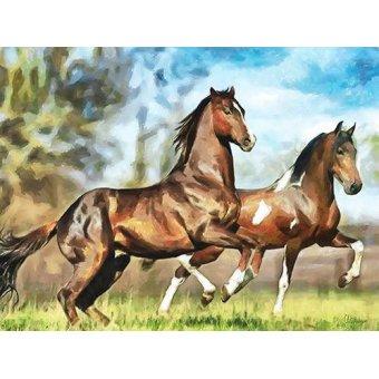cuadros de fauna - Cuadro -Moderno CM10537- (caballos) - Medeiros, Celito