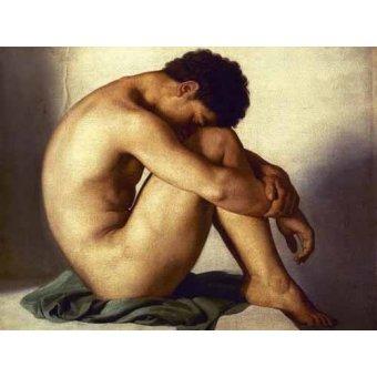 cuadros de desnudos - Cuadro -Estudio de un joven desnudo- - Flandrin, Hippolyte