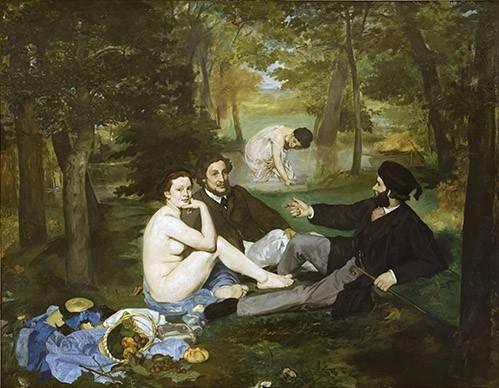 cuadros-de-retrato - Cuadro -Desayuno en la hierba, 1863- - Manet, Eduard
