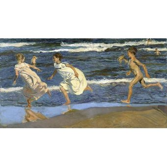 cuadros de retrato - Cuadro -Corriendo por la playa- - Sorolla, Joaquin