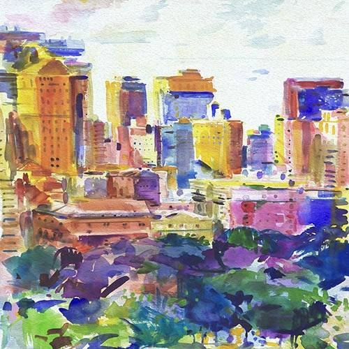 cuadros-abstractos - Cuadro -Cidades (I)- - Tapissan, James