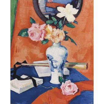 cuadros de flores - Cuadro -Roses in a vase against an orange background- - Peploe, Samuel