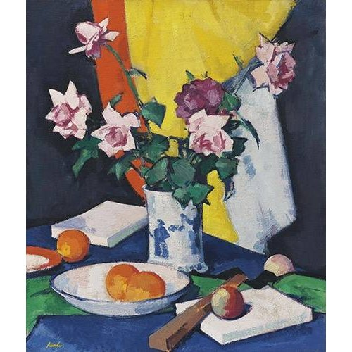 Cuadro -Red and pink roses, oranges and fan-
