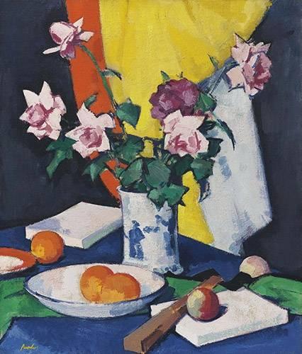 cuadros-de-bodegones - Cuadro -Red and pink roses, oranges and fan- - Peploe, Samuel
