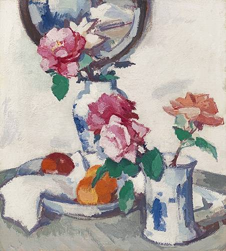 cuadros-de-bodegones - Cuadro -Still life with roses and fruit- - Peploe, Samuel