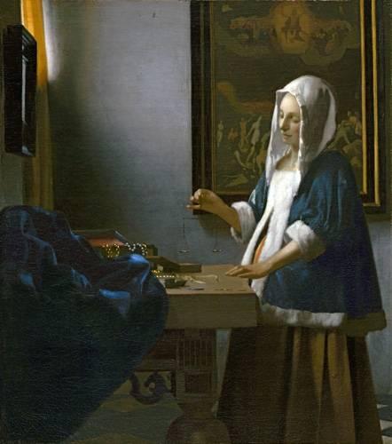 cuadros-de-retrato - Cuadro -Woman Holding a Balance- - Vermeer, Johannes