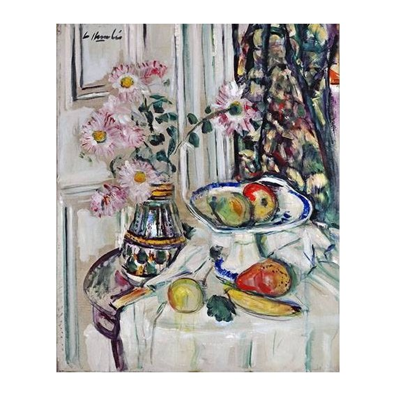 Cuadro -Still Life With Daisies and Fruit-