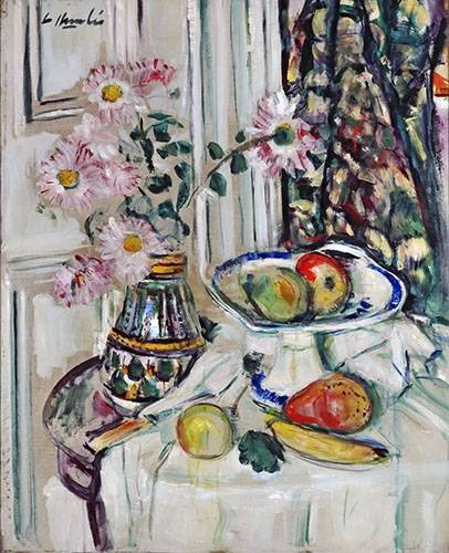 cuadros-de-bodegones - Cuadro -Still Life With Daisies and Fruit- - Hunter, G.L.