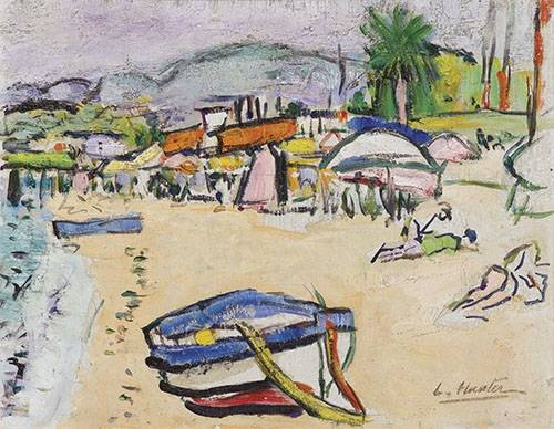 cuadros-de-marinas - Cuadro -On the beach, South of France- - Hunter, G.L.