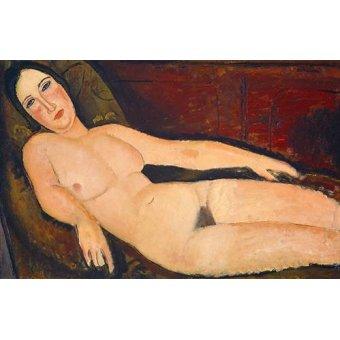 cuadros de desnudos - Cuadro -Nude on a Divan, 1918- - Modigliani, Amedeo
