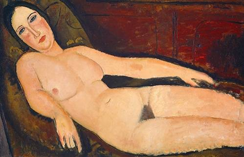 cuadros-de-retrato - Cuadro -Nude on a Divan, 1918- - Modigliani, Amedeo