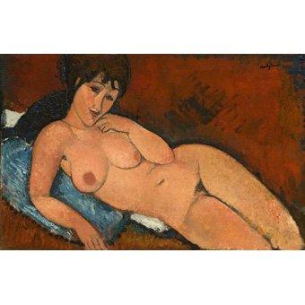 cuadros de retrato - Cuadro -Nude on a Blue Cushion- - Modigliani, Amedeo