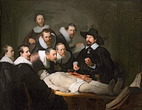 cuadros-de-retrato - Cuadro -Lección de anatomia del prof. Nicolaes Tulp-- - Rembrandt, Hermensz Van Rijn