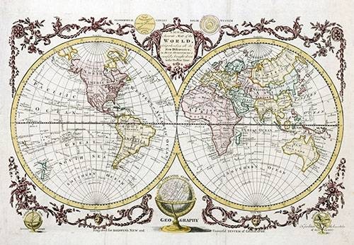 cuadros-de-mapas-grabados-y-acuarelas - Cuadro -Baldwyn, 1782 - Map of the World- - Mapas antiguos - Anciennes cartes