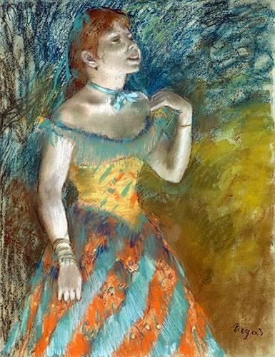 cuadros-de-retrato - Cuadro -Cantora em verde- - Degas, Edgar