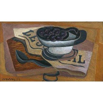 cuadros de bodegones - Cuadro -Uvas Negras, 1923- - Gris, Juan