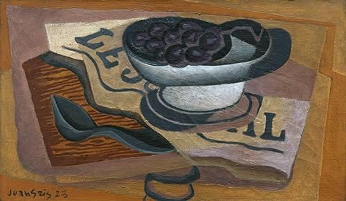 cuadros-de-bodegones - Cuadro -Uvas Negras, 1923- - Gris, Juan