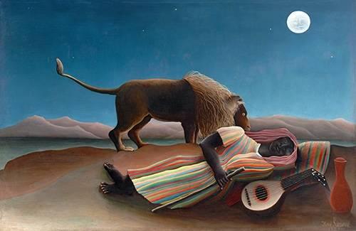 cuadros-de-paisajes - Cuadro -La gitana durmiente- - Rousseau, Henri