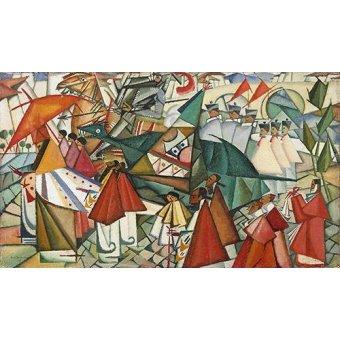 cuadros abstractos - Cuadro -Corpus Christi Procession, 1913- - Souza-Cardoso, Amadeo de