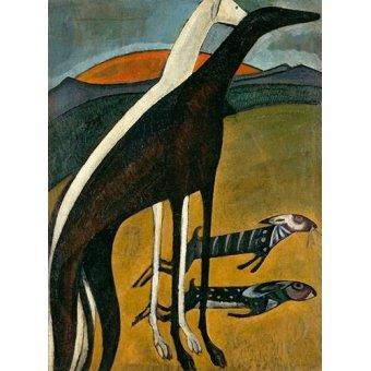 cuadros de fauna - Cuadro -Los Galgos- - Souza-Cardoso, Amadeo de