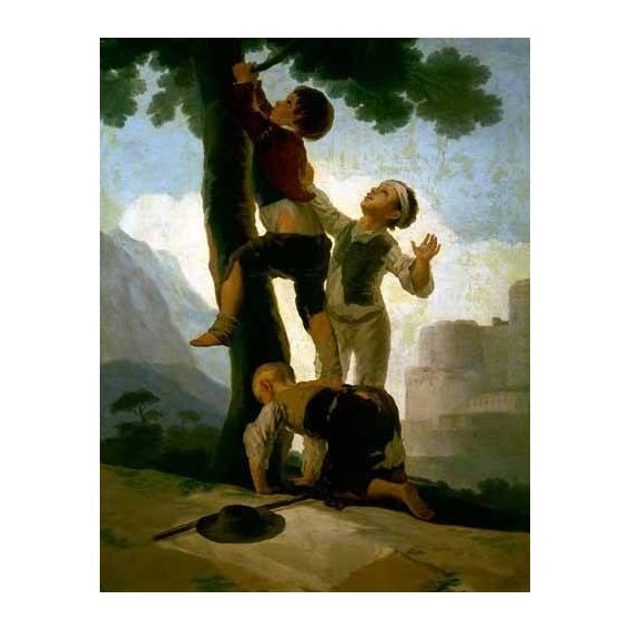 cuadros de retrato - Cuadro -Niños trepando a un árbol-