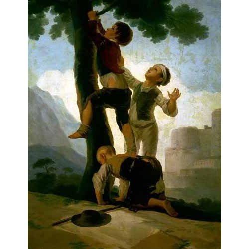 Cuadro -Niños trepando a un árbol-