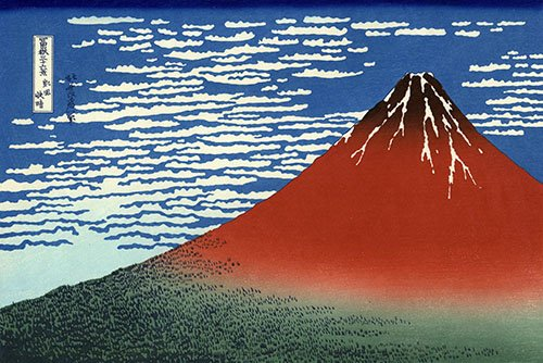 cuadros-etnicos-y-oriente - Cuadro -Red Fuji II- - Hokusai, Katsushika