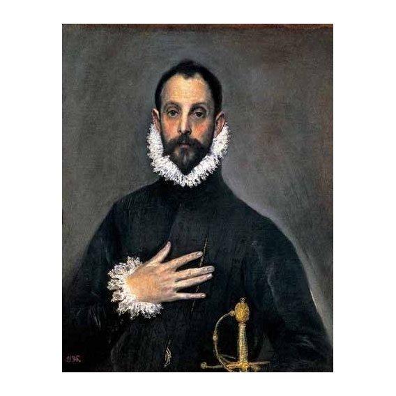 cuadros de retrato - Cuadro -El caballero de la mano en el pecho(1577-84)-