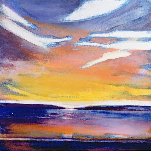 Cuadro -Evening Seascape (mixed media)-