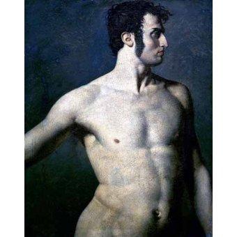 cuadros de desnudos - Cuadro -Torso de hombre- - Ingres, Jean-Auguste-Dominique
