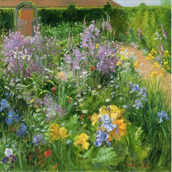 cuadros de flores - Cuadro -Sweet Rocket, Foxgloves and Irises, 2000 - - Easton, Timothy