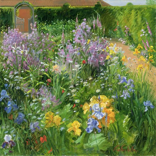 cuadros-para-salon - Cuadro -Sweet Rocket, Foxgloves and Irises, 2000 - - Easton, Timothy