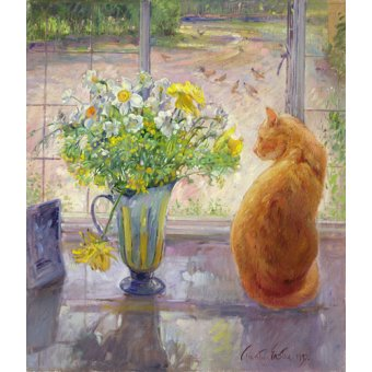 cuadros de bodegones - Cuadro - Striped Jug With Spring Flowers, 1992 - - Easton, Timothy