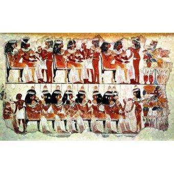 - Cuadro -Fresco en Thebes,- Banquete -- - _Anónimo Egipcio