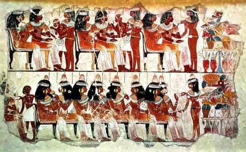 cuadros-etnicos-y-oriente - Cuadro -Fresco en Thebes,- Banquete -- - _Anónimo Egipcio